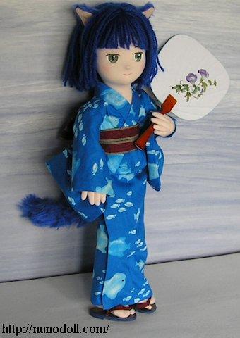 ゆかたの猫耳ドール איךמכינים בובות יפניות